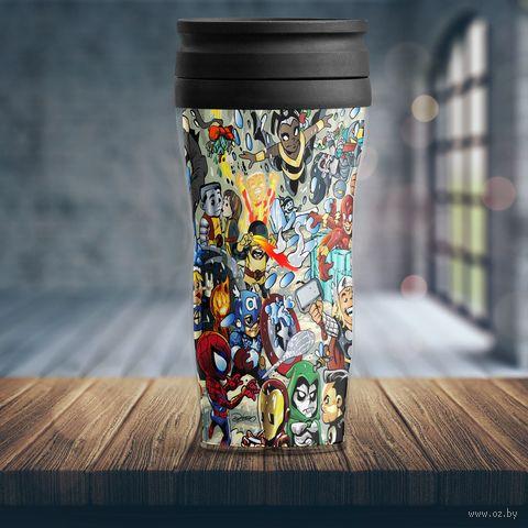 "Термостакан ""Герои Marvel и DC"" — фото, картинка"