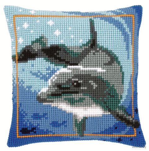 "Вышивка крестом ""Подушка. Дельфин"" (400х400 мм) — фото, картинка"