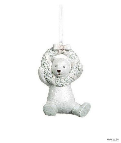 """Ёлочная игрушка """"Новогодний медвежонок с венком"""" — фото, картинка"""