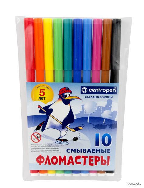 """Фломастеры """"Пингвины"""" в пластиковой упаковке (10 цветов)"""