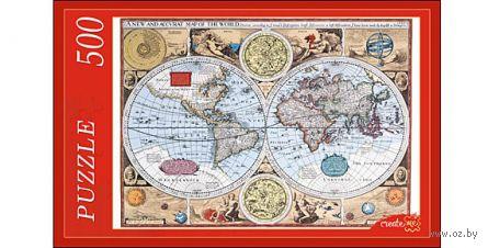 """Пазл """"Старинная карта мира"""" (500 элементов) — фото, картинка"""