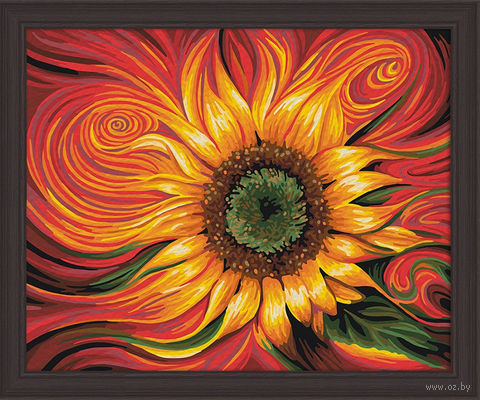 "Картина по номерам ""Огненный подсолнух"" (400х500 мм) — фото, картинка"