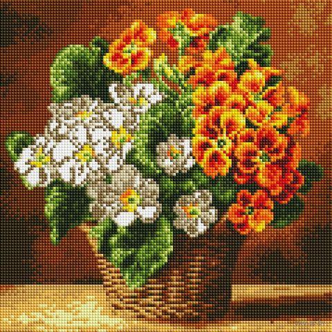 "Алмазная вышивка-мозаика ""Комнатная примула"" (300х300 мм) — фото, картинка"