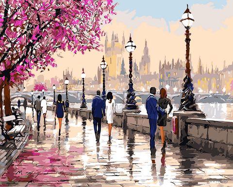 "Картина по номерам на деревянном холсте ""Набережная в Лондоне"" (400х500 мм) — фото, картинка"