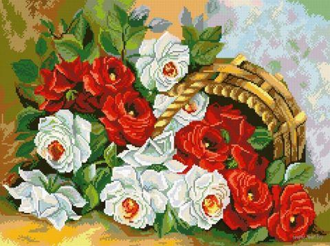 "Алмазная вышивка-мозаика ""Корзина роз"" (410x550 мм) — фото, картинка"