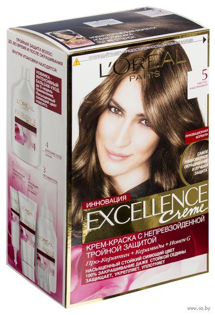 """Крем-краска для волос """"Excellence"""" (тон: 5, светло-каштановый) — фото, картинка"""