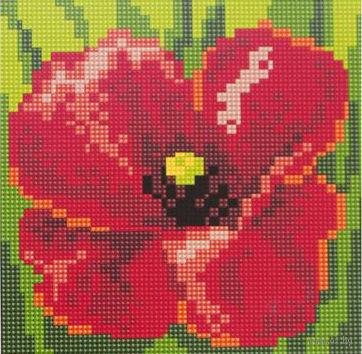 """Алмазная вышивка-мозаика """"Красный цветок"""" (200x200 мм) — фото, картинка"""