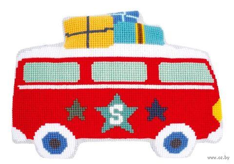 "Вышивка крестом ""Подушка. В отпуск на автобусе"" (400х570 мм) — фото, картинка"