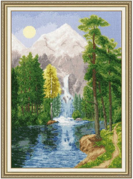 "Вышивка крестом ""Водопад в горах"" (445х309 мм) — фото, картинка"
