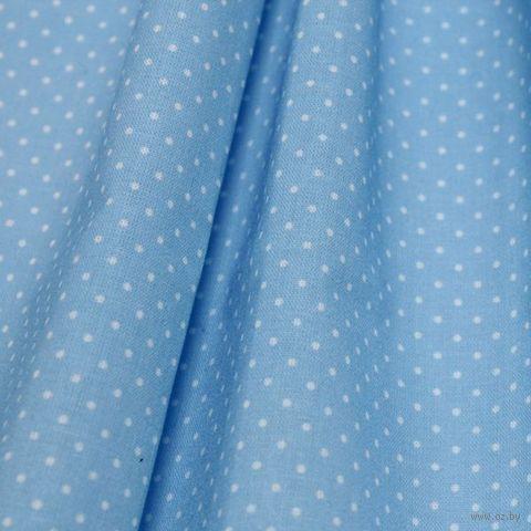 """Ткань """"Мелкий горошек"""" (48х50 см; голубой) — фото, картинка"""
