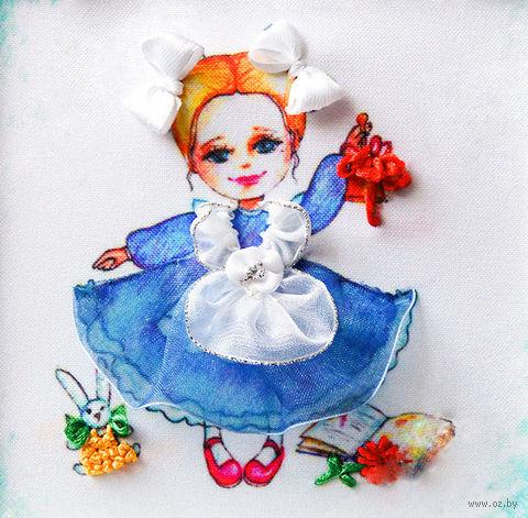 "Вышивка лентами ""Девочка"" (135х135 мм; арт. ВЛДС0009) — фото, картинка"