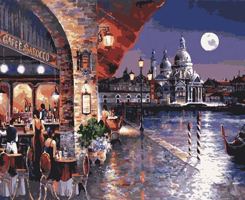 "Картина по номерам ""Ночное кафе Венеции"" (400х500 мм) — фото, картинка"