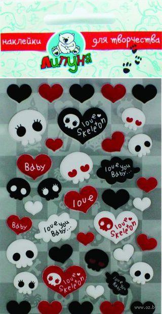 """Наклейки зефирные """"Сердца и скелеты"""""""