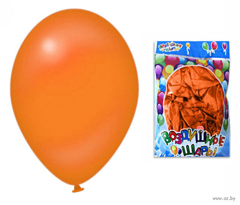 Набор шариков резиновых надувных (оранжевый; 100 шт.) — фото, картинка
