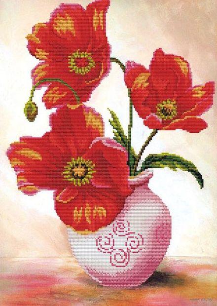 "Алмазная вышивка-мозаика ""Маки в вазе"" (450х620 мм) — фото, картинка"
