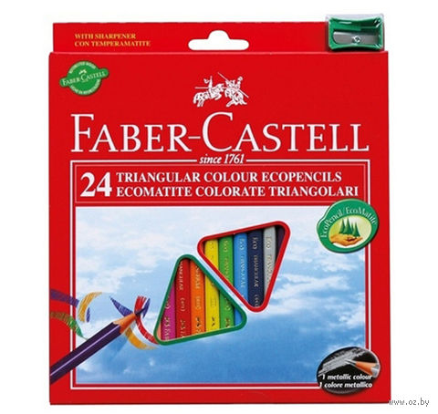 Трехгранные цветные карандаши Faber-Castell ECO (24 цвета + точилка)