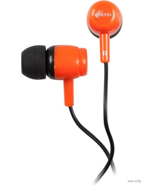 Наушники Ritmix RH-020 (черно-оранжевые) — фото, картинка