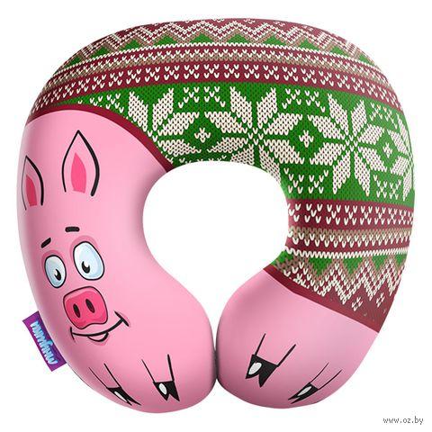 """Подушка под шею """"Подложи свинью"""" (29х29 см; зелёная) — фото, картинка"""