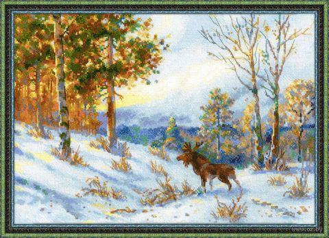"""Вышивка крестом """"В. Л. Муравьев. Лось в зимнем лесу"""" (400x280 мм) — фото, картинка"""