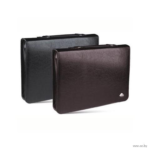 Папка-портфель на молнии с ручкой (коричневая)