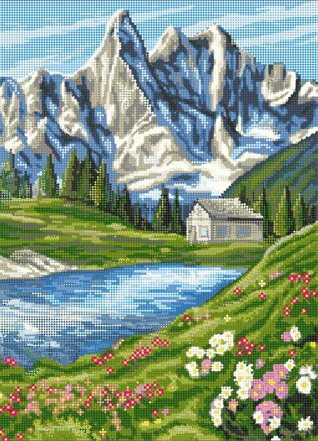 """Алмазная вышивка-мозаика """"Домик в горах"""" (500х360 мм) — фото, картинка"""