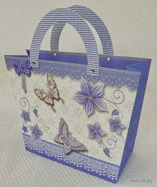 "Пакет бумажный подарочный ""Бабочки"" (29х21х9 см; арт. 10466055)"