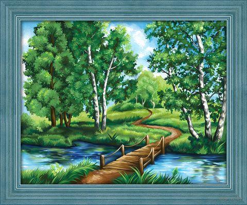 "Алмазная вышивка-мозаика ""Березы у реки"" (500х400 мм) — фото, картинка"