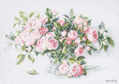 """Вышивка крестом """"Букет чайных роз"""" (435х280 мм) — фото, картинка"""