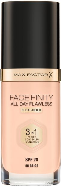 "Тональная основа 3в1 ""Facefinity All Day Flawless"" SPF 20 тон: 55 — фото, картинка"
