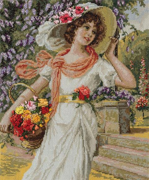 """Вышивка крестом """"Девушка с корзиной цветов"""""""
