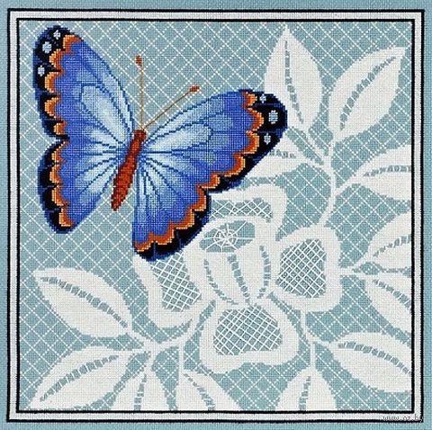 "Вышивка крестом ""Ажурная бабочка"" (270х270 мм; арт. 1122) — фото, картинка"