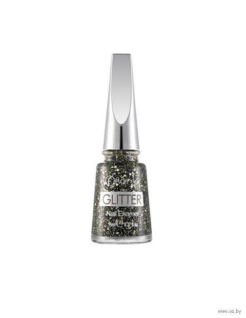 "Лак для ногтей ""Glitter Nail Enamel"" (тон: 05, black diamonds) — фото, картинка"