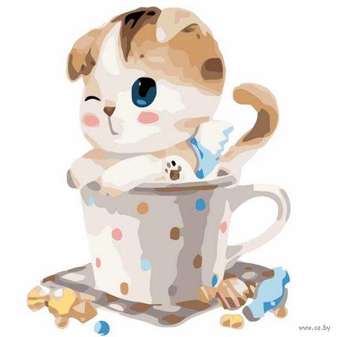 """Картина по номерам """"Котенок в чашке №2"""" (300х300 мм)"""