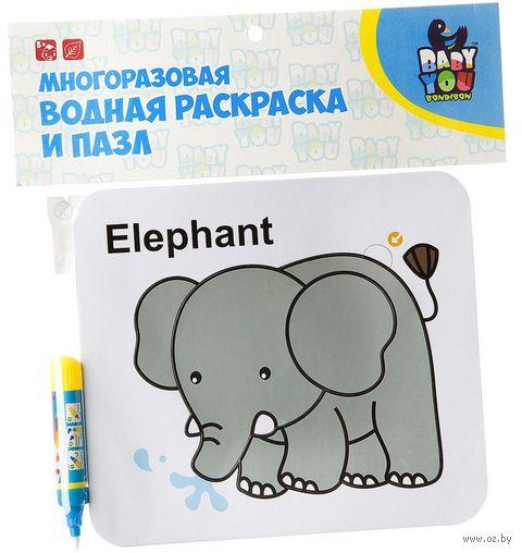 """Пазл-раскраска """"Слон"""" (4 элемента) — фото, картинка"""