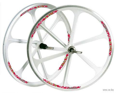 """Комплект велосипедных колёс """"TAFD/CASET-6000"""" (26""""; белый) — фото, картинка"""