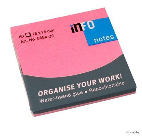 """Бумага для записей на клейкой основе """"Info notes"""" (розовый неон; 75 x 75 мм; 80 листов)"""