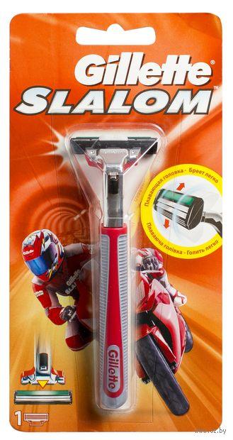Станок для бритья Gillette Slalom (+1 кассета, красный)