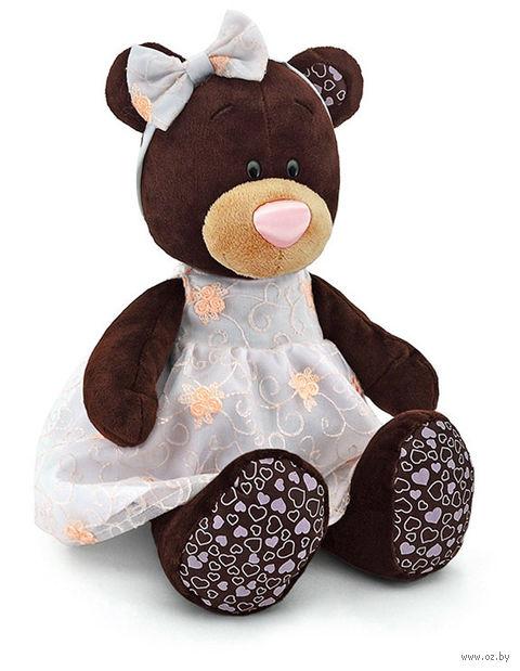 """Мягкая игрушка """"Медведь Milk в платье с вышивкой"""" (30 см)"""