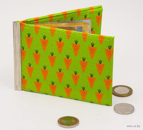 """Зажим для денег с монетницей """"Морковь"""" — фото, картинка"""