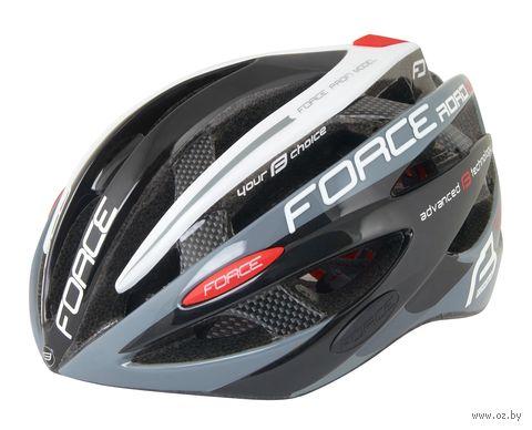 """Шлем велосипедный """"Road Pro"""" (черно-серо-белый; р. S-M) — фото, картинка"""