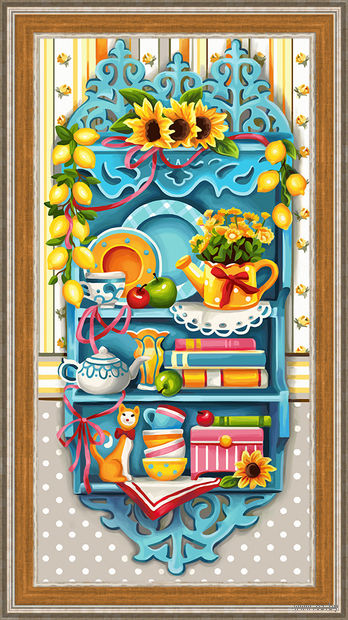 """Алмазная вышивка-мозаика """"Полочка с лимонами"""" (600х300 мм) — фото, картинка"""