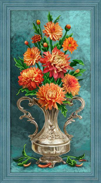"Алмазная вышивка-мозаика ""Хризантемы"" (300х600 мм) — фото, картинка"