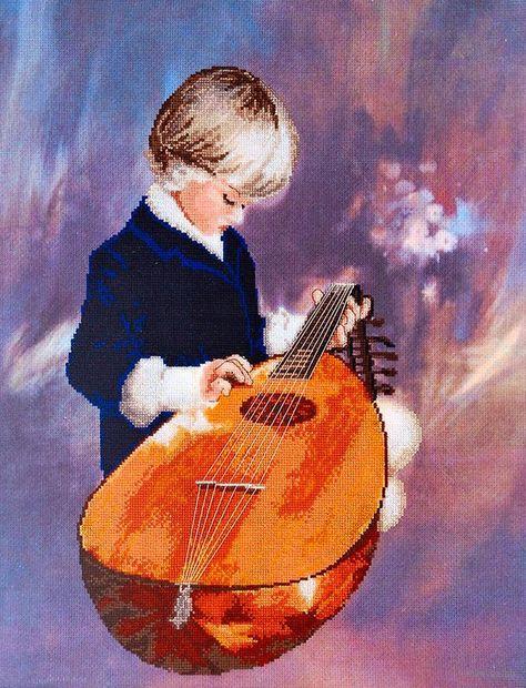 "Вышивка крестом ""Юный музыкант"" (420х330 мм) — фото, картинка"