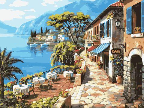 "Картина по номерам ""Приморское кафе"" (400х500 мм) — фото, картинка"