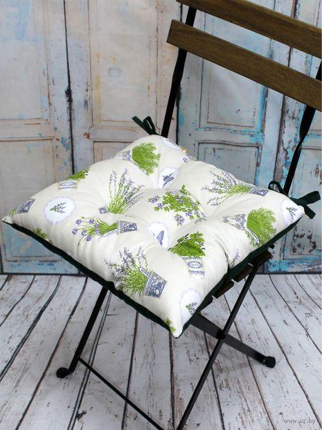 """Подушка на стул """"Homely"""" (42х42 см; бело-зелёная) — фото, картинка"""