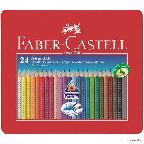 Цветные карандаши GRIP 2001 в металлической коробке (24 цвета)