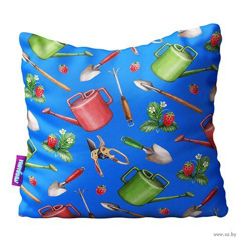"""Подушка """"Сад и огород. Большие предметы"""" (34х34 см; голубая) — фото, картинка"""