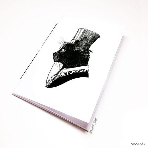"""Блокнот белый """"Кот джентльмен"""" А5 (795)"""