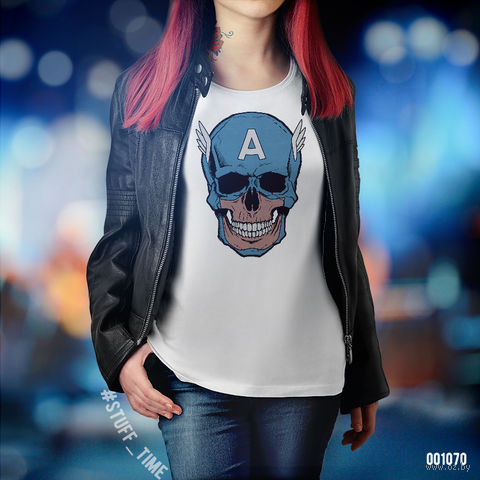 "Футболка женская ""Капитан Америка"" (S; арт. 1070) — фото, картинка"