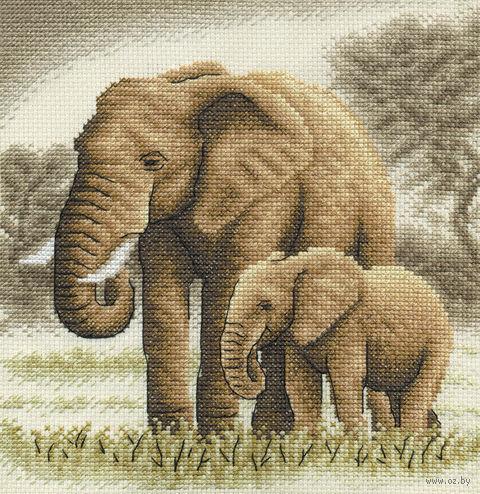 """Вышивка крестом """"Слоны"""" (190х200 мм) — фото, картинка"""